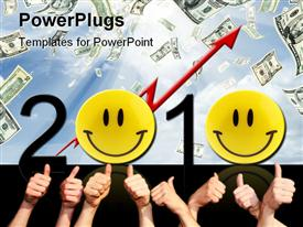 PowerPoint template displaying lots of adults hands and smiley faces with a 2010 text