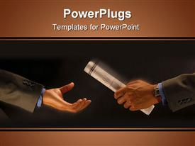 PowerPoint template displaying a person handing the report to another person