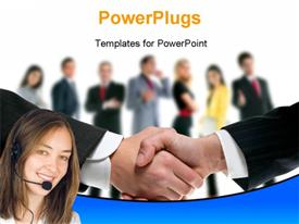 PowerPoint template displaying a professional handshake with a number of people in the background