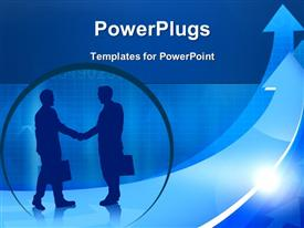 PowerPoint template displaying financial chart indicating profit with silhouette of business men shaking hands