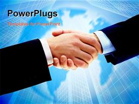 Business people. Handshake of businessman. Over blue background powerpoint theme
