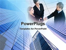 PowerPoint template displaying a group of professionals with building in the background