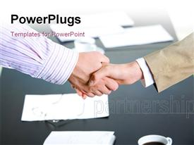 PowerPoint template displaying successful partnership of people being confirmed by handshake in the background.