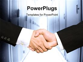PowerPoint template displaying two businessmen shaking hands in a technology data center in the background.