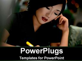 PowerPoint template displaying pretty adult female on black outfit holding a pen