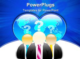 PowerPoint template displaying three businessmen with global problems