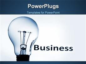 PowerPoint template displaying bulb on blue background showing business concept