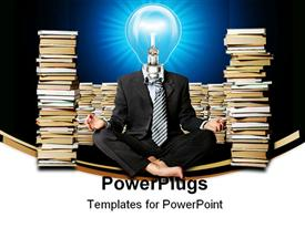 PowerPoint template displaying businessman in lotus pose and lamp-head with many books near in the background.