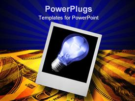 PowerPoint template displaying photograph of blue light bulb with dollar bills and red stripes, business ideas, finance, investing