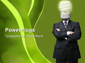 PowerPoint template displaying human figure with a power saving light bulb head