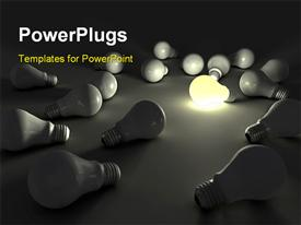 Lit light bulb among unlit ones 3Ded powerpoint theme
