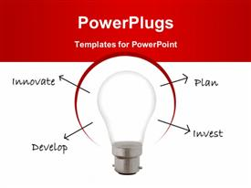 PowerPoint template displaying light bulb with terms innovate, plan, develop, invest emerging