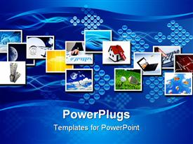 PowerPoint template displaying collage of seemingly unrelated depictions on blue background