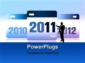 PowerPoint template displaying new Year 2011,2012 number with reflections