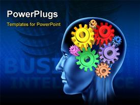 PowerPoint template displaying intelligence brain function on black cogs gears in the background.