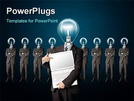 PowerPoint template displaying male businessman with lamp-head and laptop have got an idea in the background.