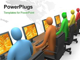 PowerPoint template displaying colored 3D people operating laptops with digital dots forming world map