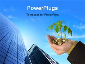 PowerPoint template displaying plant sprouting from gold coins in mans hand over cloudy sky