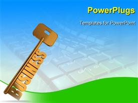 PowerPoint template displaying business gold key - Gold key with Business text as symbol for success in business