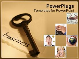 PowerPoint template displaying a key along with various pictures in boxes