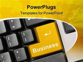 PowerPoint template displaying keyboard close up with yellow enter button written business