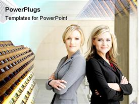 PowerPoint template displaying two business women with skyscrapers, female executives, management