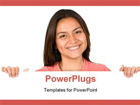 PowerPoint template displaying beautiful girl smiling over card board over white in the background.