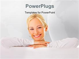 Beautiful woman leaning on a billboard powerpoint template