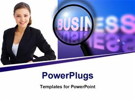 PowerPoint template displaying a professional with the word business in the background