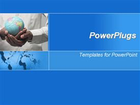PowerPoint template displaying man carrying globe in hands with blue background
