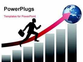 Businessman running to success powerpoint design layout