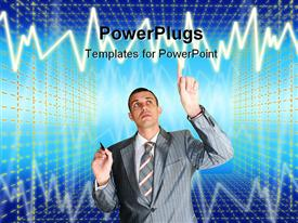 PowerPoint template displaying successful businessman choose new information internet technology