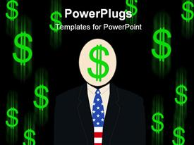 Business man with dollar sign for head powerpoint template