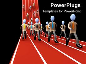 PowerPoint template displaying business people running in a marathon race, success in business