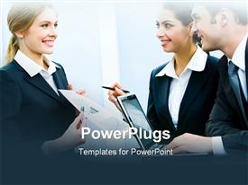 PowerPoint template displaying business woman demonstrating her project to coworkers