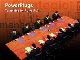 PowerPoint template displaying on 3D depiction two group of businessman's on informal business meeting
