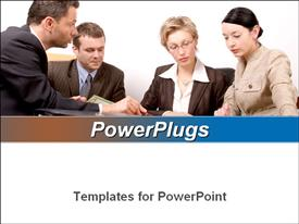 PowerPoint template displaying 4 business people at the meeting in the background.