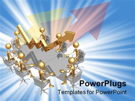 PowerPoint template displaying lots of gold colored human figures sitting on a meeting table