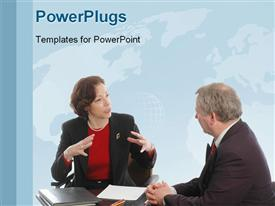 PowerPoint template displaying business discussion between two business people with world map in background