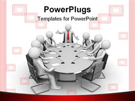 PowerPoint template displaying isolated characters businessmen business concepts series in the background.