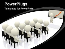 PowerPoint template displaying a beautiful depiction of a classroom with a white board