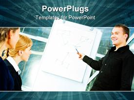 PowerPoint template displaying three business people smiling and having a business meeting