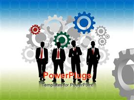 PowerPoint template displaying colored 2D gears with business men on green surface