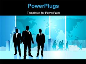 PowerPoint template displaying a number of professionals with map in the background