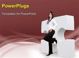 Business girl leaning on a puzzle powerpoint design layout