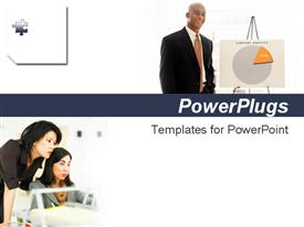 PowerPoint template displaying three adult humans in two different tiles with white background