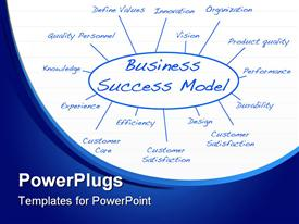 PowerPoint template displaying blue business success model on white and blue background