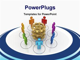 PowerPoint template displaying business network concept. .3D in the background.