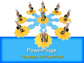 PowerPoint template displaying computer generated depiction - Business Network in the background.