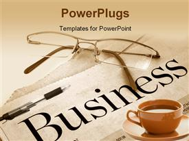 PowerPoint template displaying business section of newspaper with glasses on top